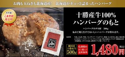 【十勝産牛100%ハンバーグのもと500g!】ハンバーグのタネ材500g〜お肉もタマネギも北海道産〜:1480円