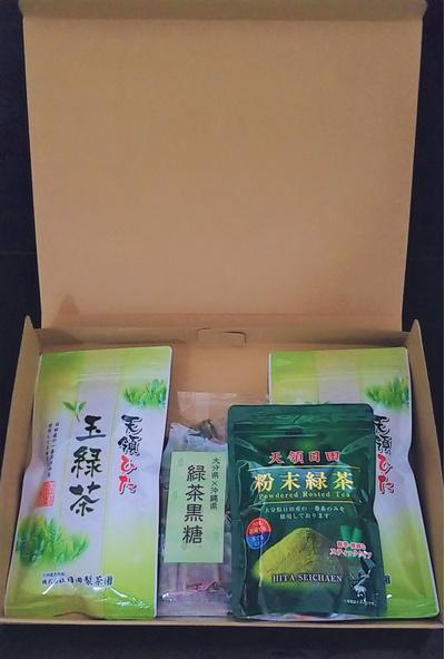 日田産玉緑茶&日田産粉末緑茶&緑茶黒糖セット:1750円